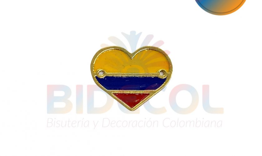 Corazon tricolor en Oro Golfi Bidecol