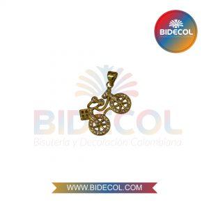 Dije En Forma De Bicicleta (2.7cm) Dorado en Rodio y Microcircones x 1und