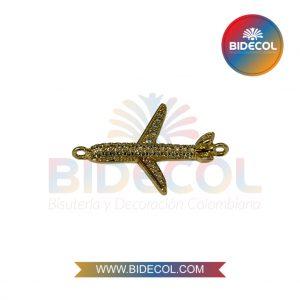 Dije En Forma De Avion (2.2cm) Dorado en Rodio y Microcircones x 1und