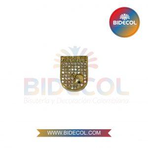 Dije del Equipo de Futbol Santa Fe (1.5cm) Dorado en Rodio y Microcircones x 1und