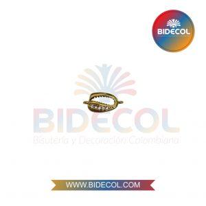 Dije Centro En Forma De Concha Marina (1.4cm) Dorado en Rodio y Microcircones x 1und