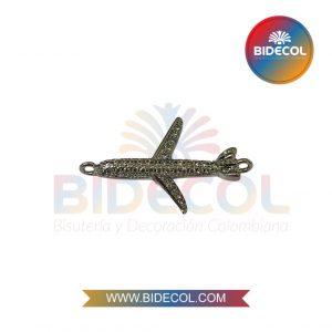 Dije En Forma De Avion (2.2cm) Plateado en Rodio y Microcircones x 1und